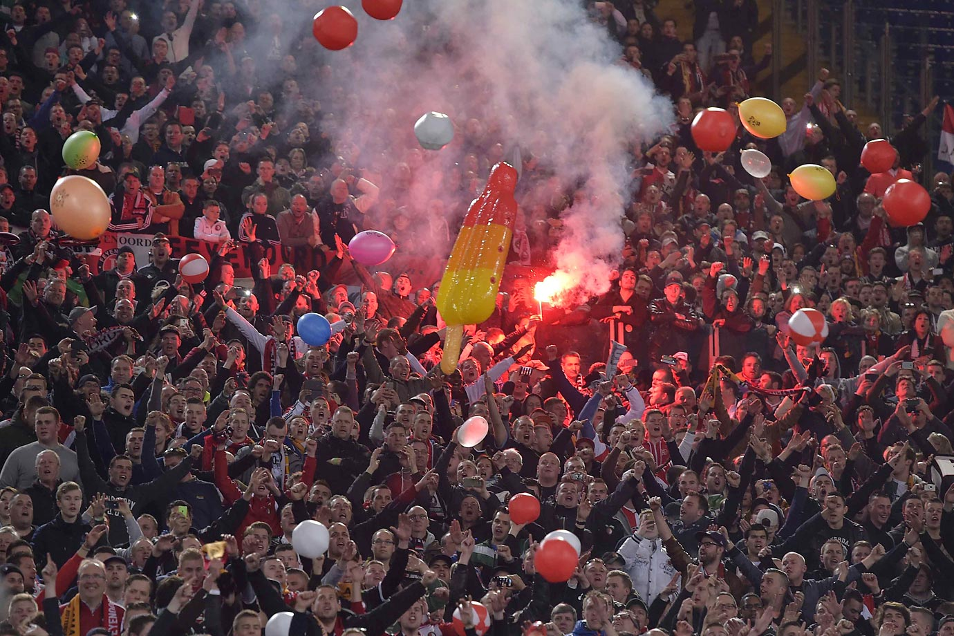 Balloons, fire, what else could you ask for at the UEFA Europa League                           Sport Soccer game between Roma and Feyenoord.