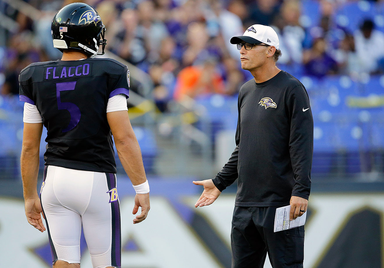The Ray Rice suspension is finally behind them, but so is offensive coordinator Gary Kubiak, who helped Justin Forsett lead the NFL with 5.1 yards per carry last year. New OC Marc Trestman has a rookie tight end, and the Ravens' top wide receiver is 5-foot-9 and 36 years old — and he wants you to get off his lawn.