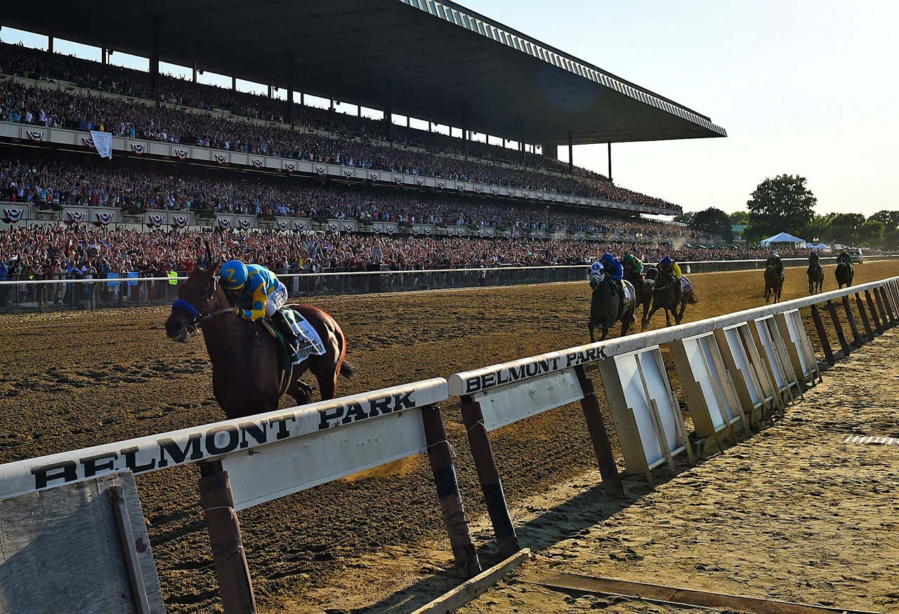 American Pharoah led all the way in winning the Belmont Stakes by 5 1/2 lengths, becoming the first horse since 1978 to sweep the Kentucky Derby, Preakness and Belmont Stakes--one of the sporting world's rarest feats.