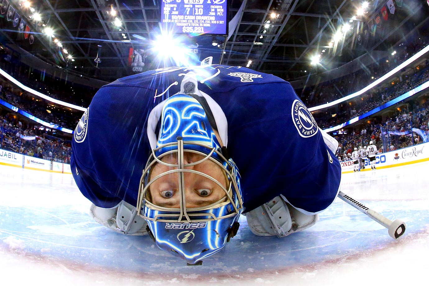 Tampa Bay Lightning goalie Ben Bishop stretches between periods during Game 1 of the NHL Finals on June 3 at Amalie Arena in Tampa.