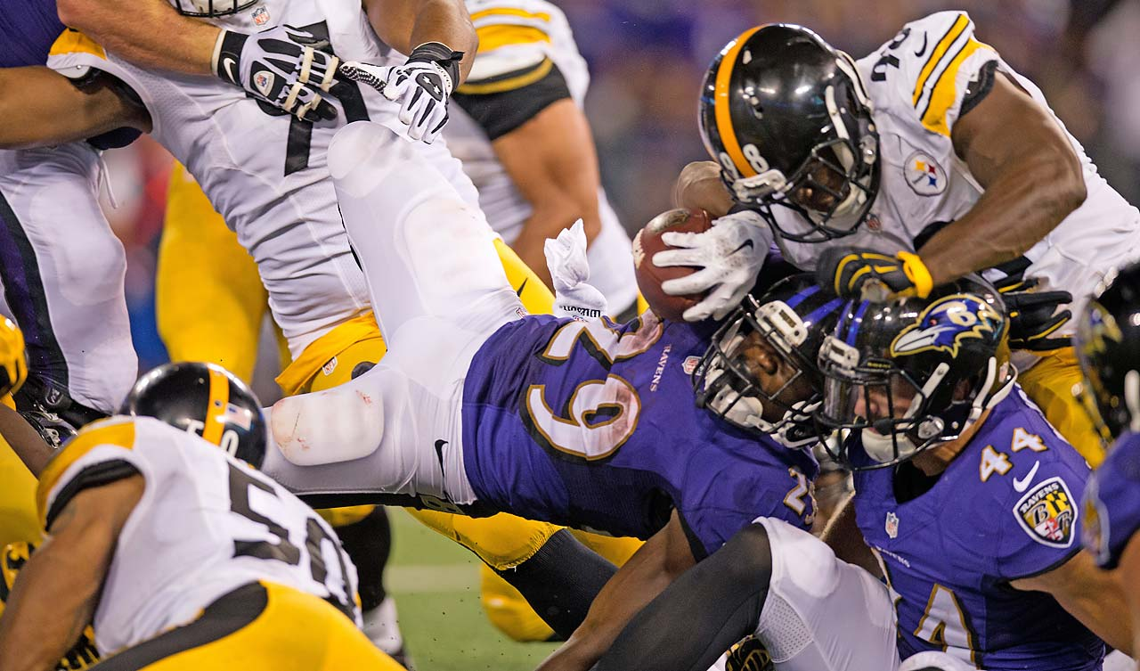 Bernard Pierce ran for 96 yards on 22 carries against the Steelers in the Thursday night game.