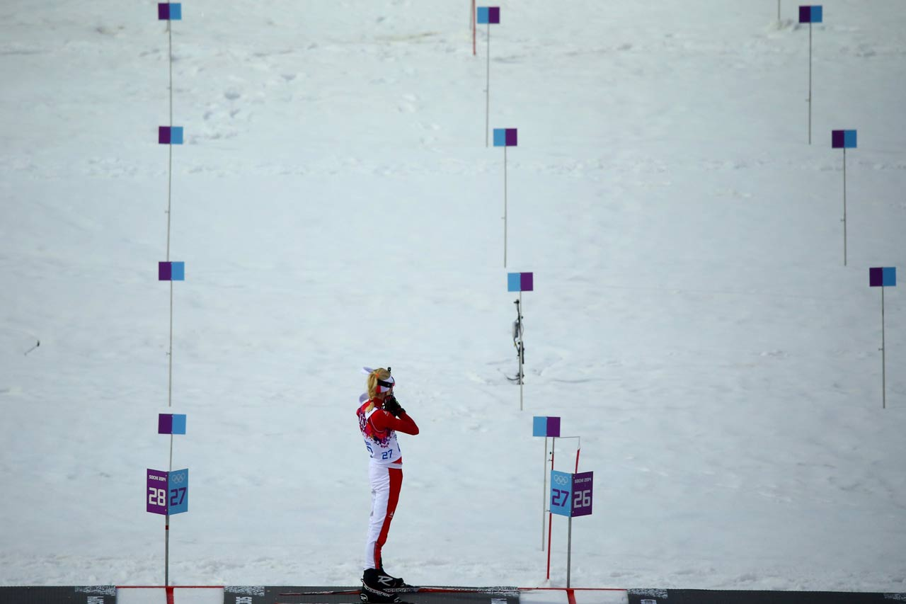 Domracheva faulted on the fourth target in her final shooting, but as her nearest rival, Gabriela Soukalova of the Czech Republic, also missed, meaning Domracheva could still carry a 14.7-second lead into her final 2.5K lap.