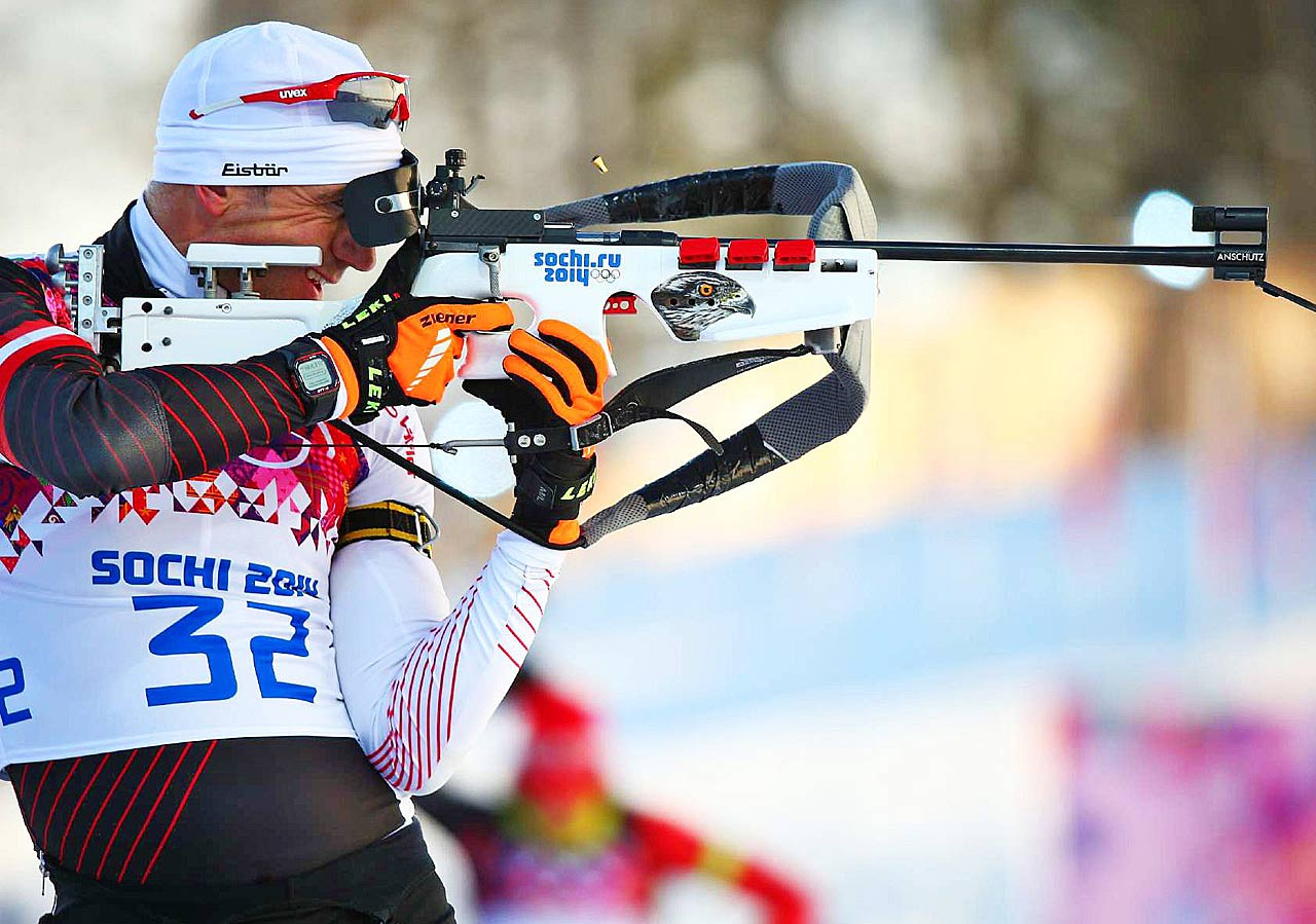 Christoph Suman of Austria competes in the Biathlon 10km sprint.