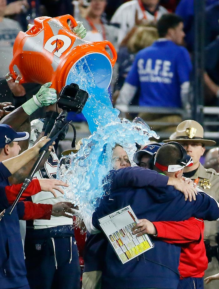 Bill Belichick is doused after winning the Super Bowl.