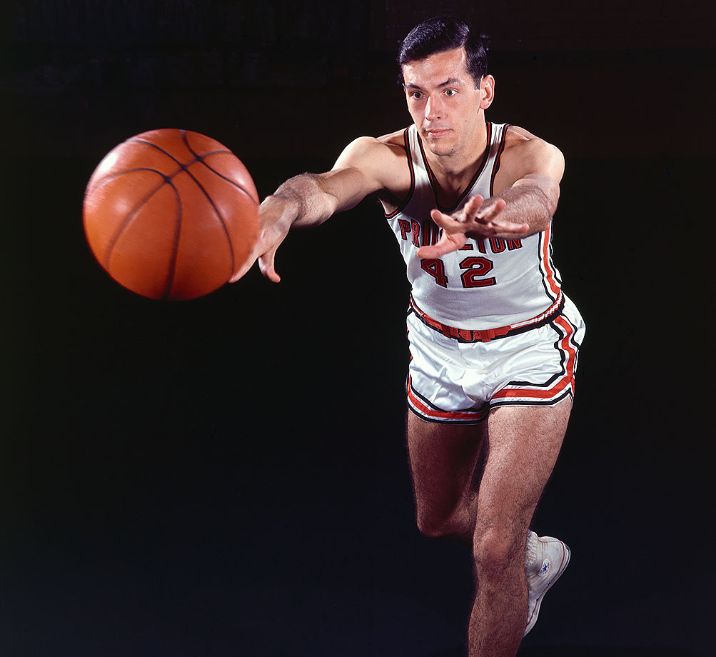 Perhaps the finest scholar-athlete the game has ever seen, Bradley was a two-time first-team All-America and led the Tigers to the Final Four his senior year before accepting a Rhodes Scholarship. He holds the Ivy League record for scoring with 29.8 points per game and the top 11 single-game scoring marks at Princeton, led by his 58 points against Wichita State in the 1965 NCAA tournament consolation game. Even though Bradley did not play in the final, he was named the Final Four's Most Outstanding Player.