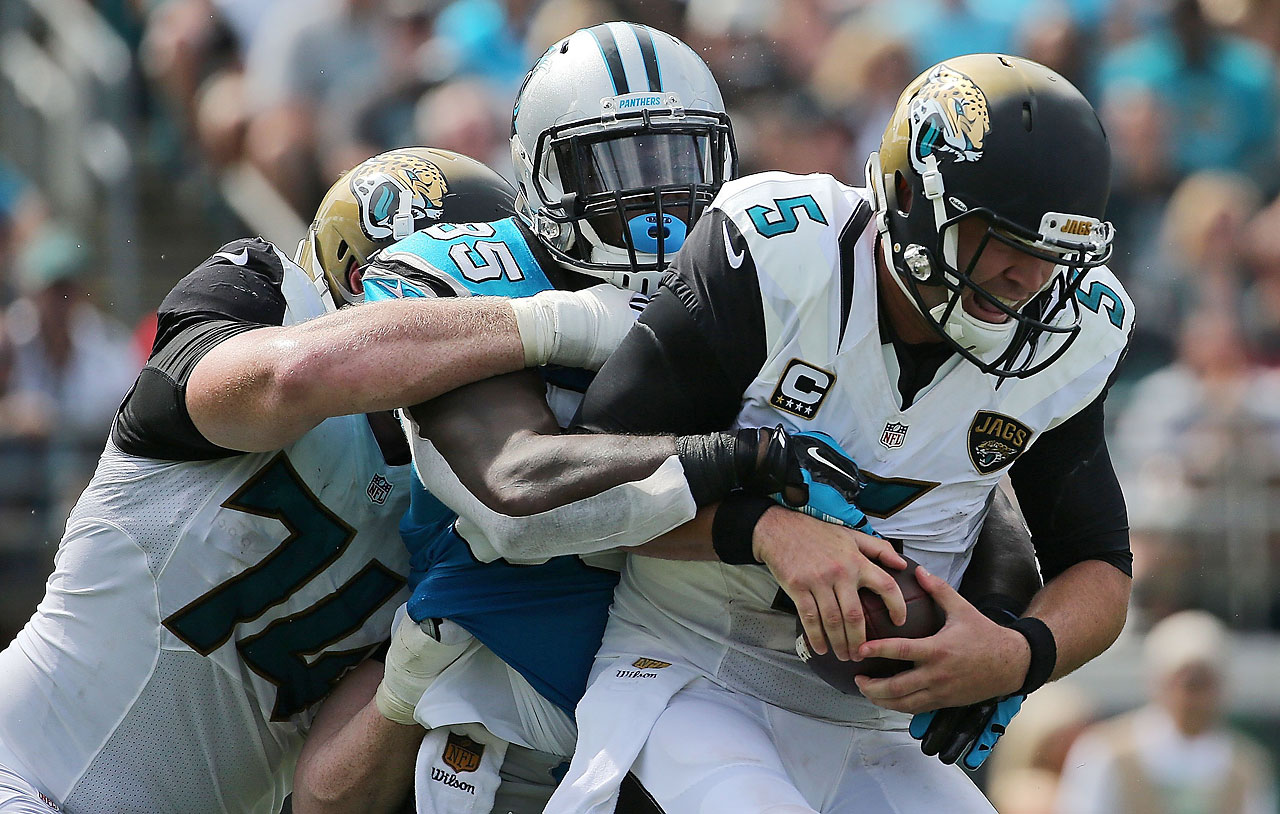 Charles Johnson of the Carolina Panthers sacks Jacksonville quarterback  Blake Bortles.