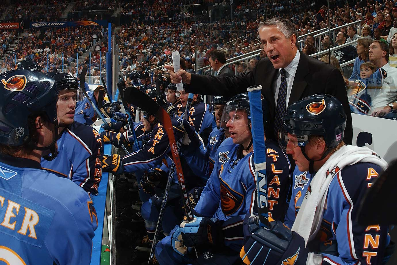 "Leading the Thrashers to the best season in their history—franchise record 43-28-11 mark, Southeast Division title, first playoff appearance—wasn't enough to earn their fourth-year coach any job security. Their 0-6-0 skid to start 2007-08 led to Hartley being booted. ""We still have 76 games left,"" said GM Don Waddell, who took over behind the bench. ""There is lots of season left to make something up. We just couldn't let it go any further."" Unfortunately the Thrashers DNQed and didn't see the postseason again until after their 2011 move to Winnipeg."