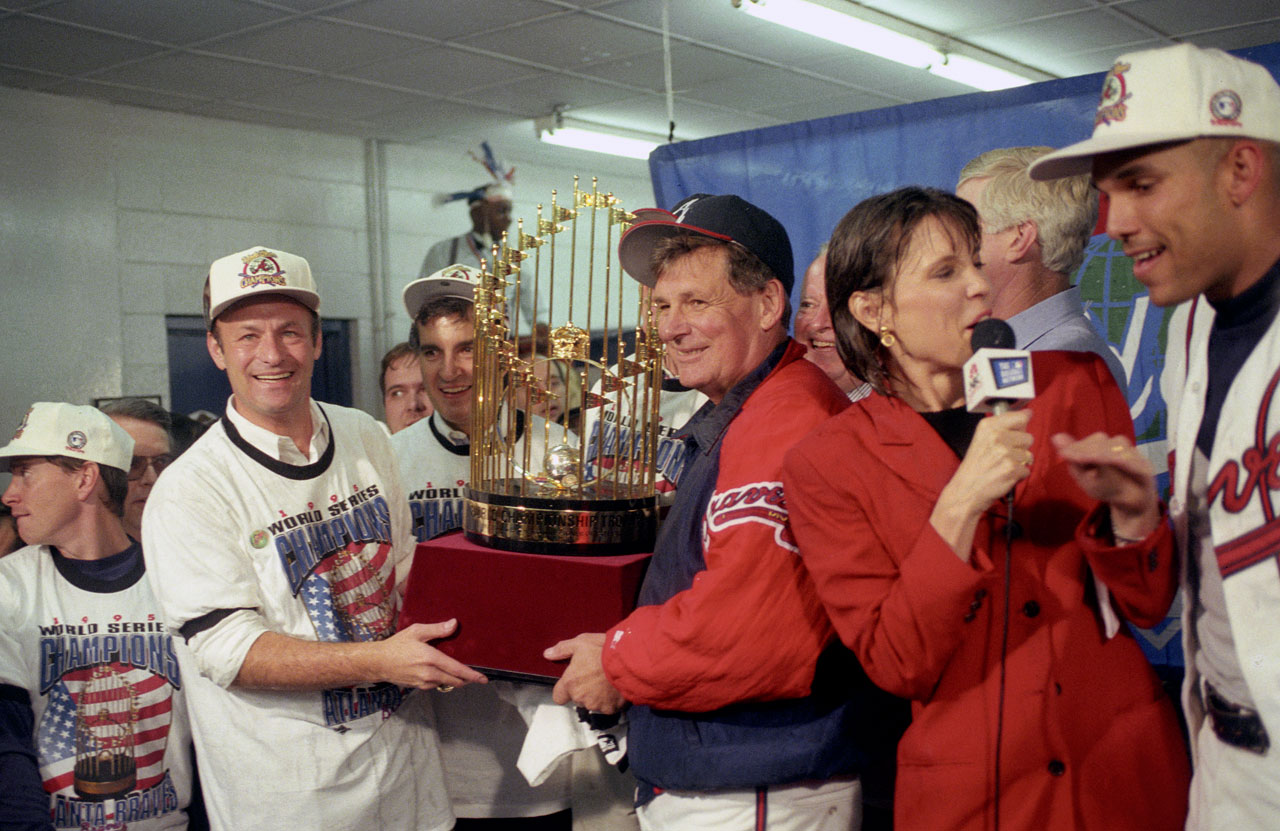 Cox went to the World Series five times with the Braves, winning in 1995. He managed Atlanta for 25 years (1978-81, 1990-2010) with a four-year stint as manager of the Toronto Blue Jays in between.