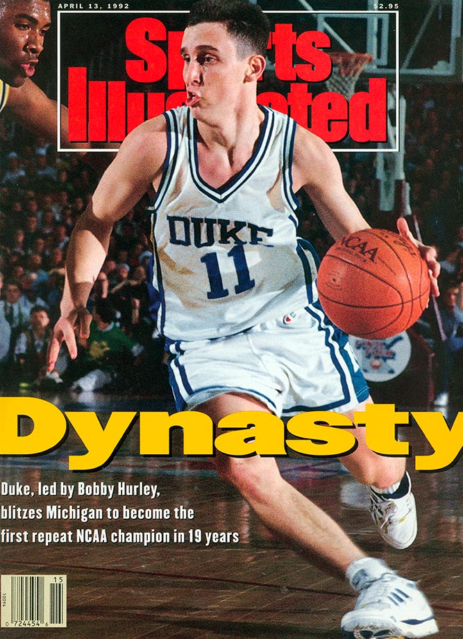 Hurley remains the NCAA's leader in career assists, but he also averaged double-figures in scoring in three of his four seasons, including 17 points per game as a senior. With Hurley dishing and scoring, the Blue Devils made three NCAA championship games and won twice. Hurley had nine assists in Duke's title game win over Kansas in 1991 and seven assists in a 71-51 victory over Michigan in the 1992 final, after which Hurley was named the Final Four's Most Outstanding Player.