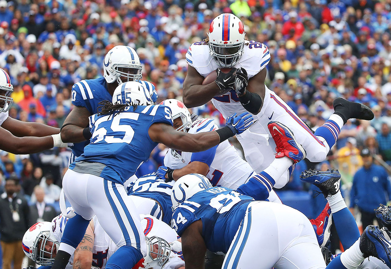 Boobie Dixon of the Buffalo Bills jumps into the endzone for a touchdown against the Indianapolis Colts.