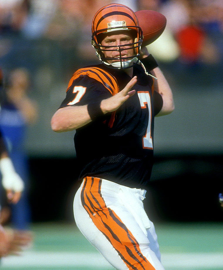 Boomer spent the majority of his career at the helm for the Bengals, including 1988, when he was named NFL MVP. He also played for the Cardinals and Jets.