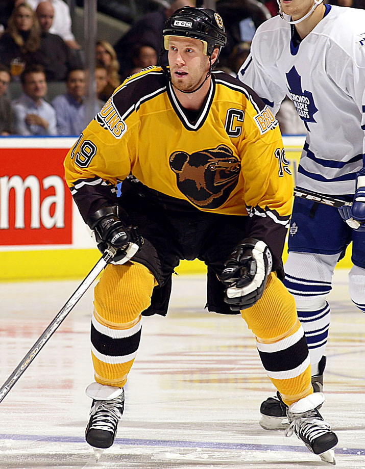 Objectively, this wasn't even the worst third jersey introduced in 1995, but it stuck around so long—10 humiliating seasons—and was such a downgrade from their classic traditional sweaters that it earns the top spot. The dijon yellow body and jagged trim were bad enough, but that sleepy bear head logo? It's like replacing San Jose's fearsome fish with Katy Perry's left shark, only there's no kitsch value here. It was no coincidence the team was so bad for so many of those years. Wearing these took two inches and 20 pounds off those poor souls.