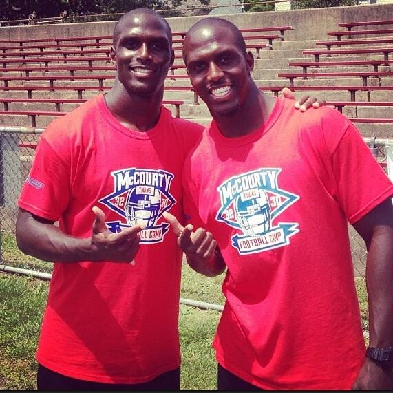 The McCourty twins at their third annual football camp on June 22, 2014, in Nyack, New York.