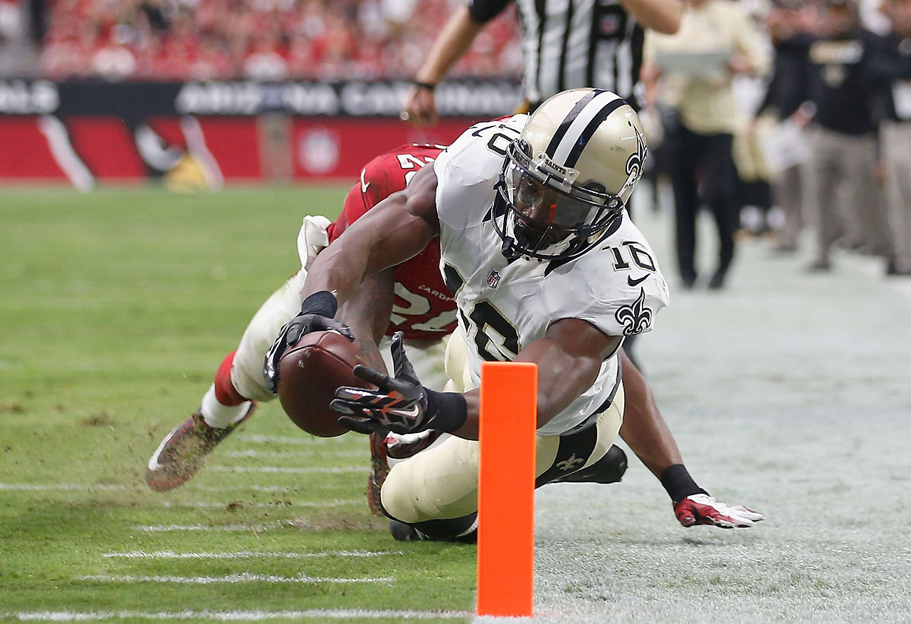 Wide receiver Brandon Coleman of the New Orleans Saints stretches for the end zone on a 12-yard touchdown against the Arizona Cardinals.