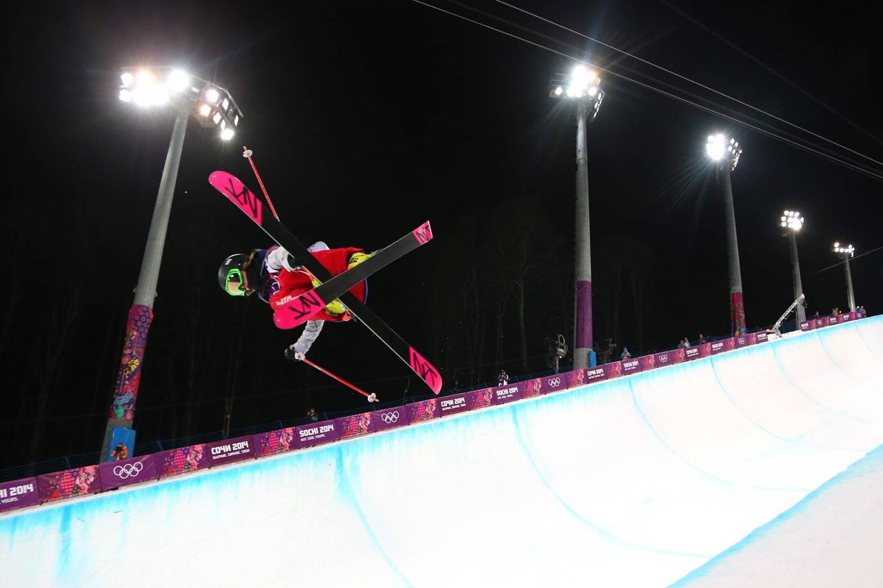 Brita Sigourney in the Ski Halfpipe qualifications.