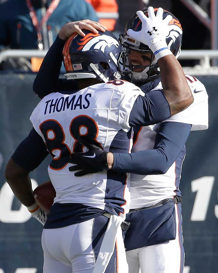 On the day that he turned 25, Brock Osweiler made his first NFL start and helped lead the Denver Broncos to a 17-15 victory at Chicago. He capped his first drive with a 48-yard catch-and-run touchdown pass to Demaryius Thomas.