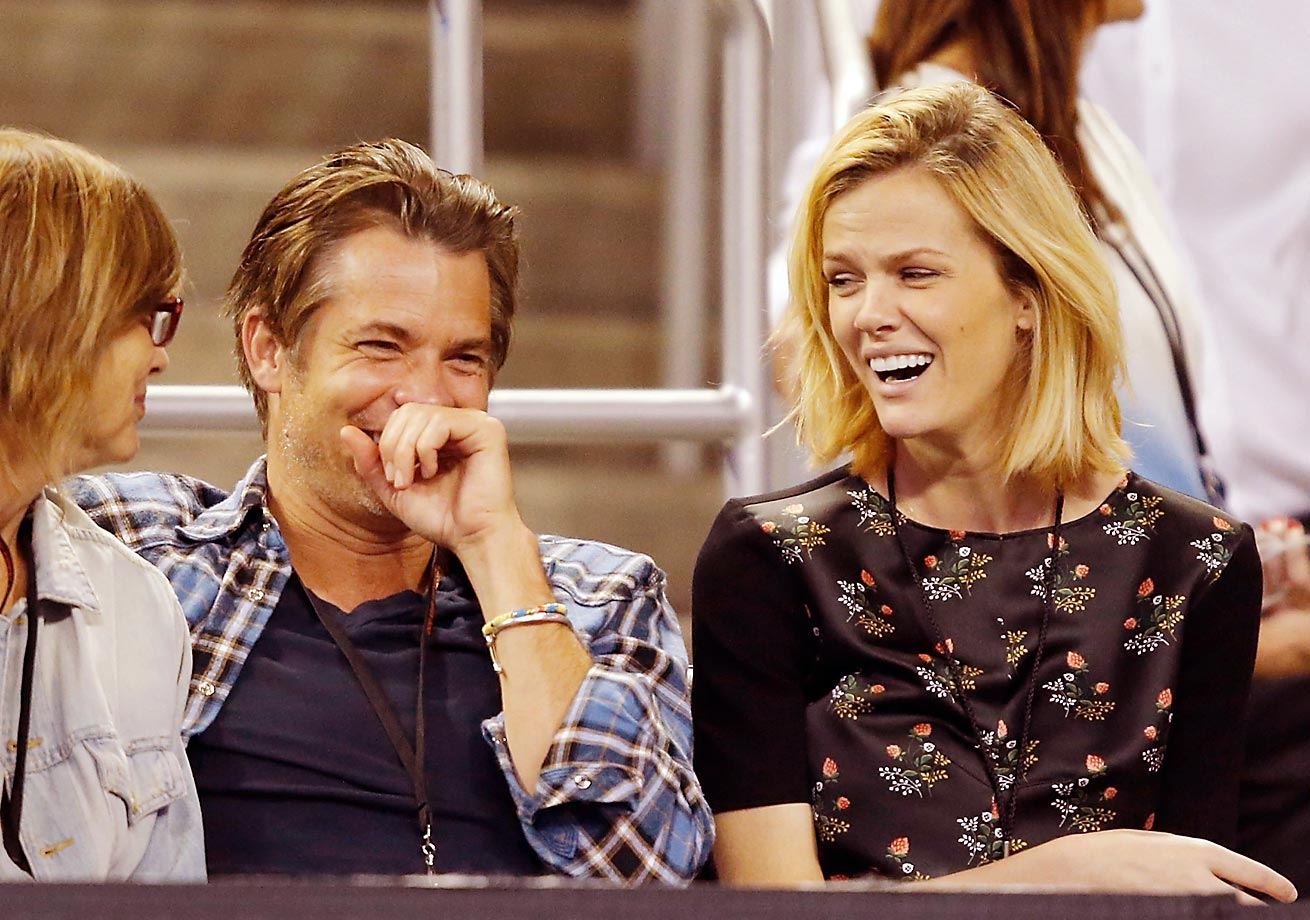 Actor Timothy Olyphant and Brooklyn Decker attend the PowerShares Series SoCal Honda Dealers Helpful Cup.