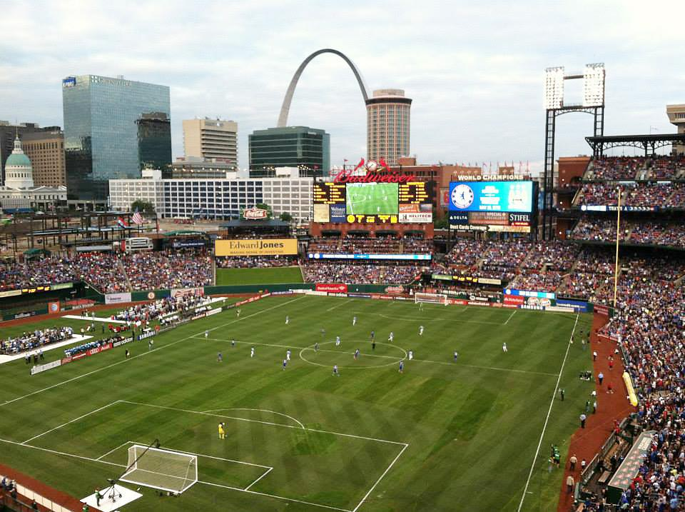 A Chelsea-Manchester City friendly match in 2013 at Busch Stadium.