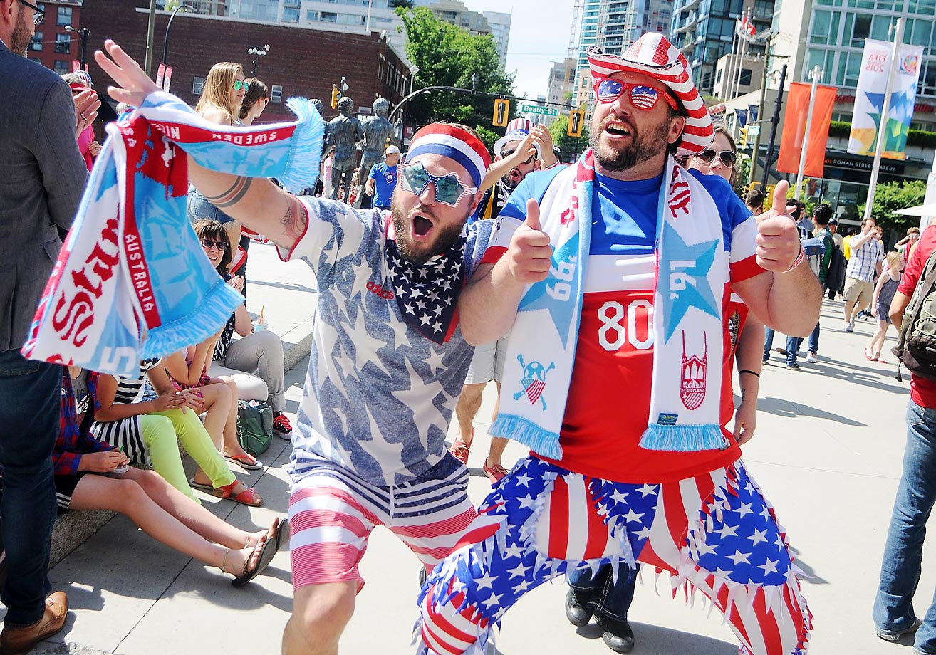 United States fans head into BC Place in Vancouver, British Columbia, to watch the U.S take on Nigeria.