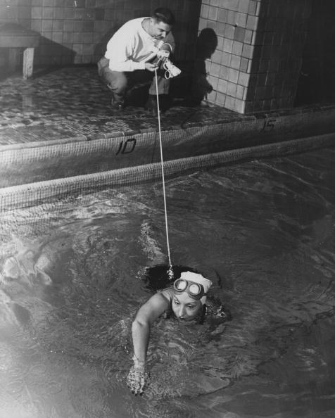 Channel swimmer Florence Chadwick training at the Henry Hudson Hotel, England.