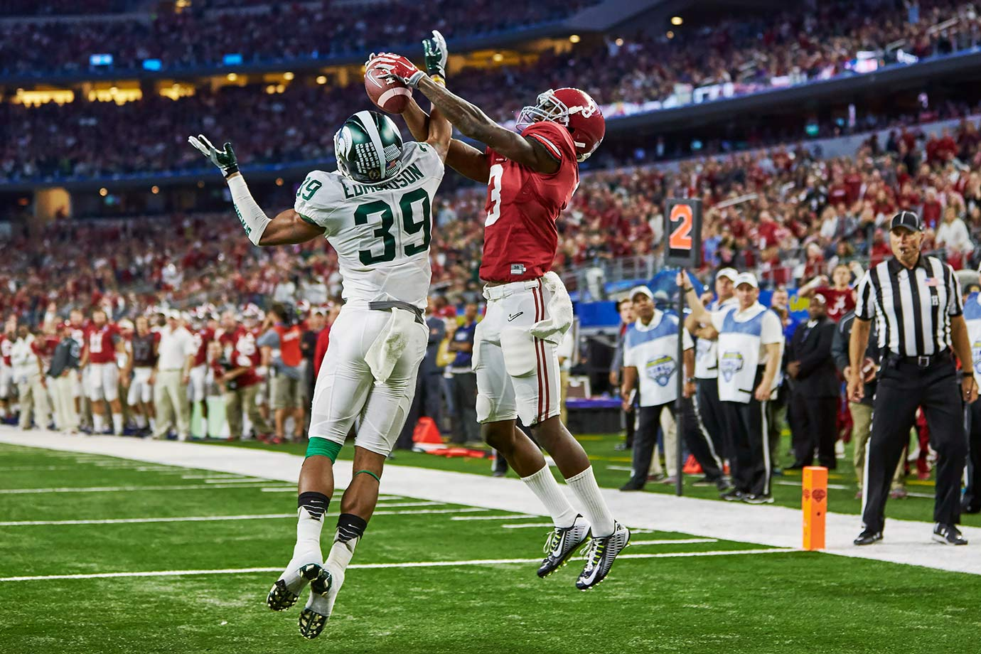 Ridley emerged as the Crimson Tide's new primary receiver in only his freshman season, catching 89 passes for 1,045 yards with seven touchdowns. He came up big late in the season, gaining 138 yards with two scores in the playoff semifinal against Michigan State.