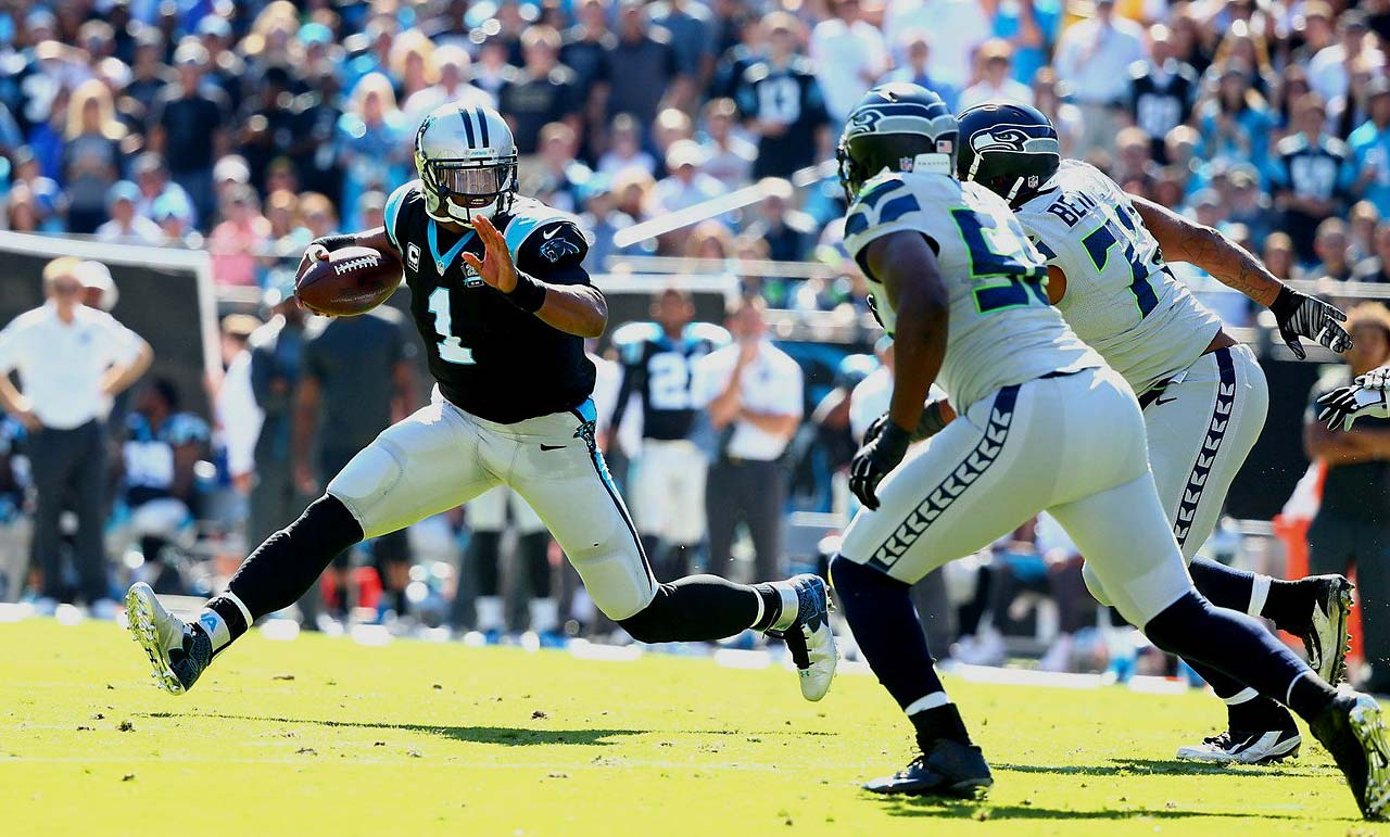 Cam Newton failed to lead the Panthers into the end zone against Seattle. He threw for 171 yards and ran for 24.