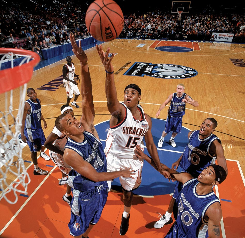 In 2003, Anthony led Syracuse to the 2003 national championship, the first in program history, averaging 22.2 points and 10.0 rebounds. He had 33 points and 14 rebounds in a regional final win over Texas. But he was at his best in the title game, finishing with 20 points, 10 rebounds and seven assists as Syracuse defeated Kansas 81-78. Anthony was the first star of the one-and-done era. After he was named the tournament's Most Outstanding Player as a freshman, he was selected third overall in the 2003 NBA draft.