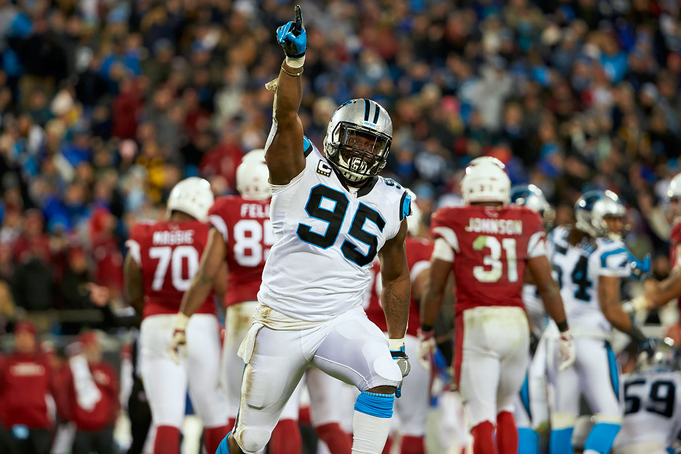 In order to clear cap space, the Panthers cut nine-year veteran defensive end Charles Johnson. He has been a starter on the Panthers defensive line since 2010 and started all nine games he played in this year. Releasing him clears up $11 million in cap space for the Panthers in 2016.