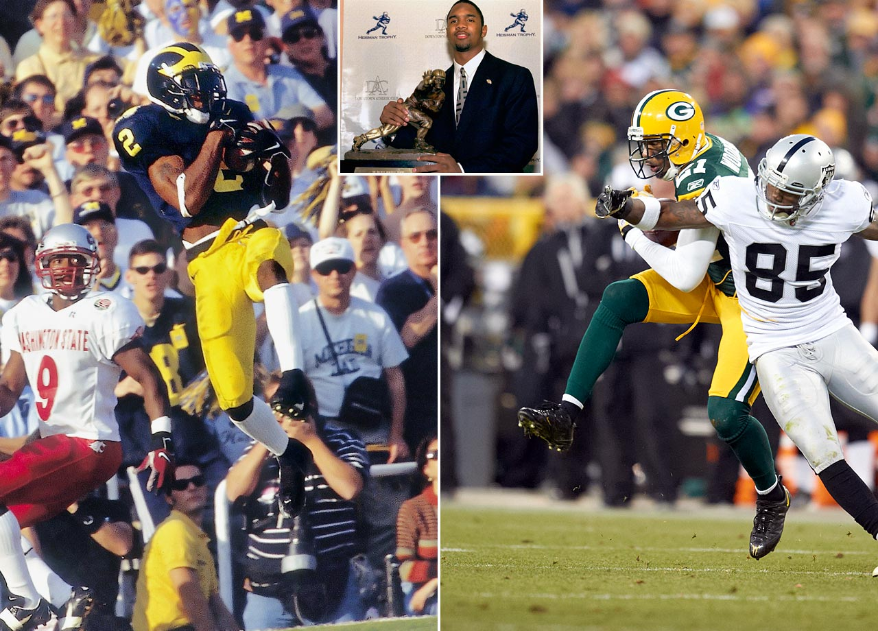 The first primarily defensive player to win the Heisman (1997), Woodson played 18 seasons in the NFL, 11 with the Raiders and seven with the Packers. He is in a three-way tie for first in career defensive touchdowns (13), along with Rod Woodson and Darren Sharper.