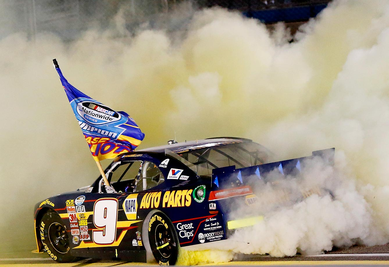 Chase Elliott celebrates winning the series championship with a burnout during the NASCAR Nationwide Series Ford EcoBoost 300.