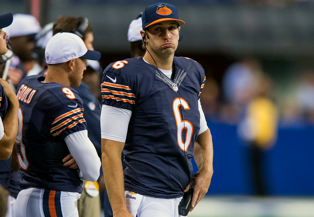 Jay Cutler catches a lot of flak for being – well, Jay Cutler. But he's the Bears' career passing leader! Unfortunately, he lost Marc Trestman, perennial teammate Brandon Marshall and first-round pick Kevin White is recovering from surgery to repair a stress fracture in his shin. Luckily, the Bears' horrible defense will get most of the headlines.
