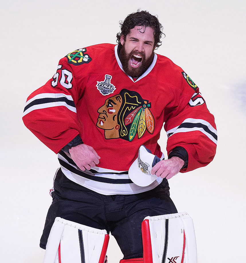 Corey Crawford had 25 saves in his fifth career playoff shutout.