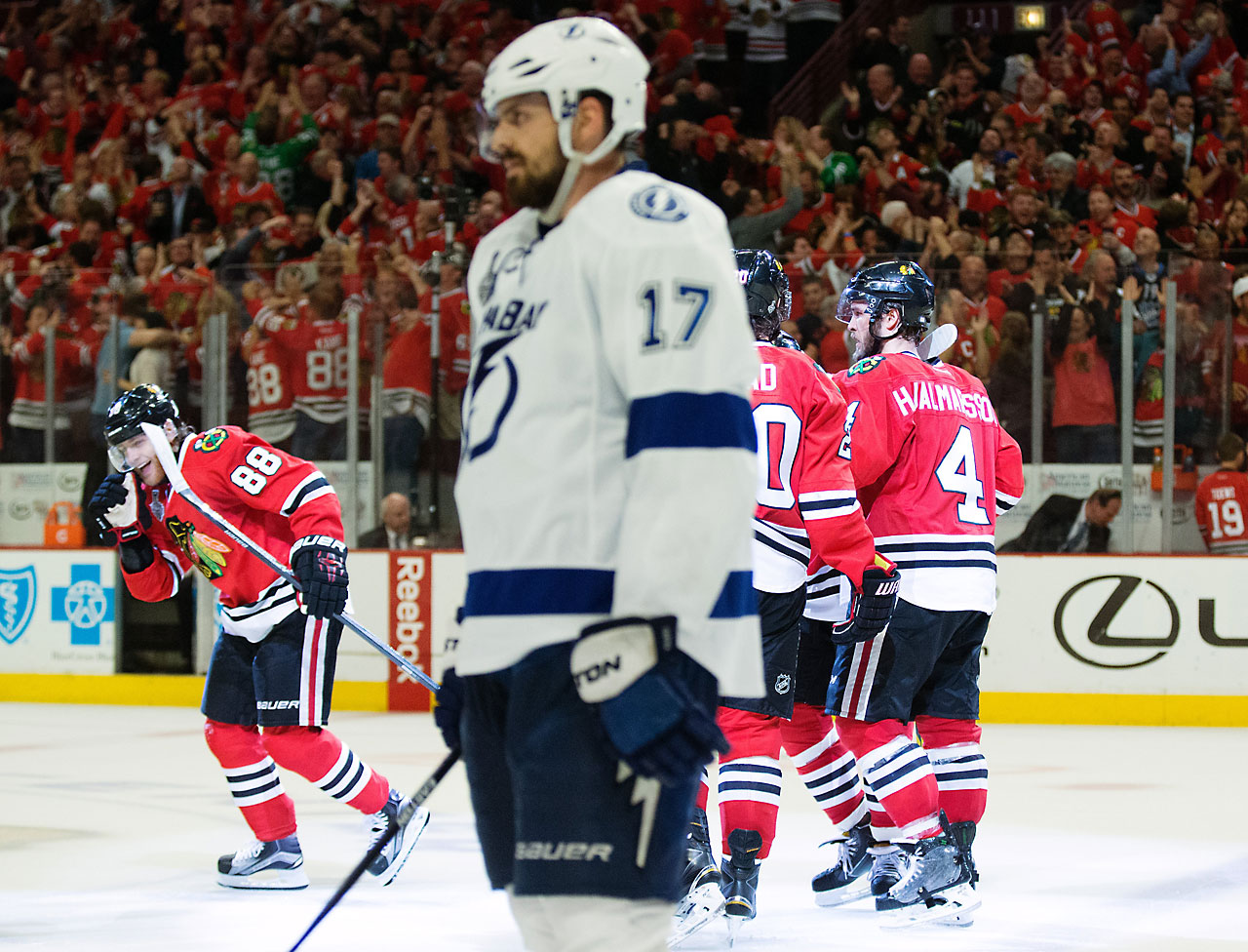 Led by Ben Bishop and big defenseman Victor Hedman, the Lightning allowed just 13 goals in the series, but it wasn't enough against the unflappable Blackhawks. (Text credit: AP)