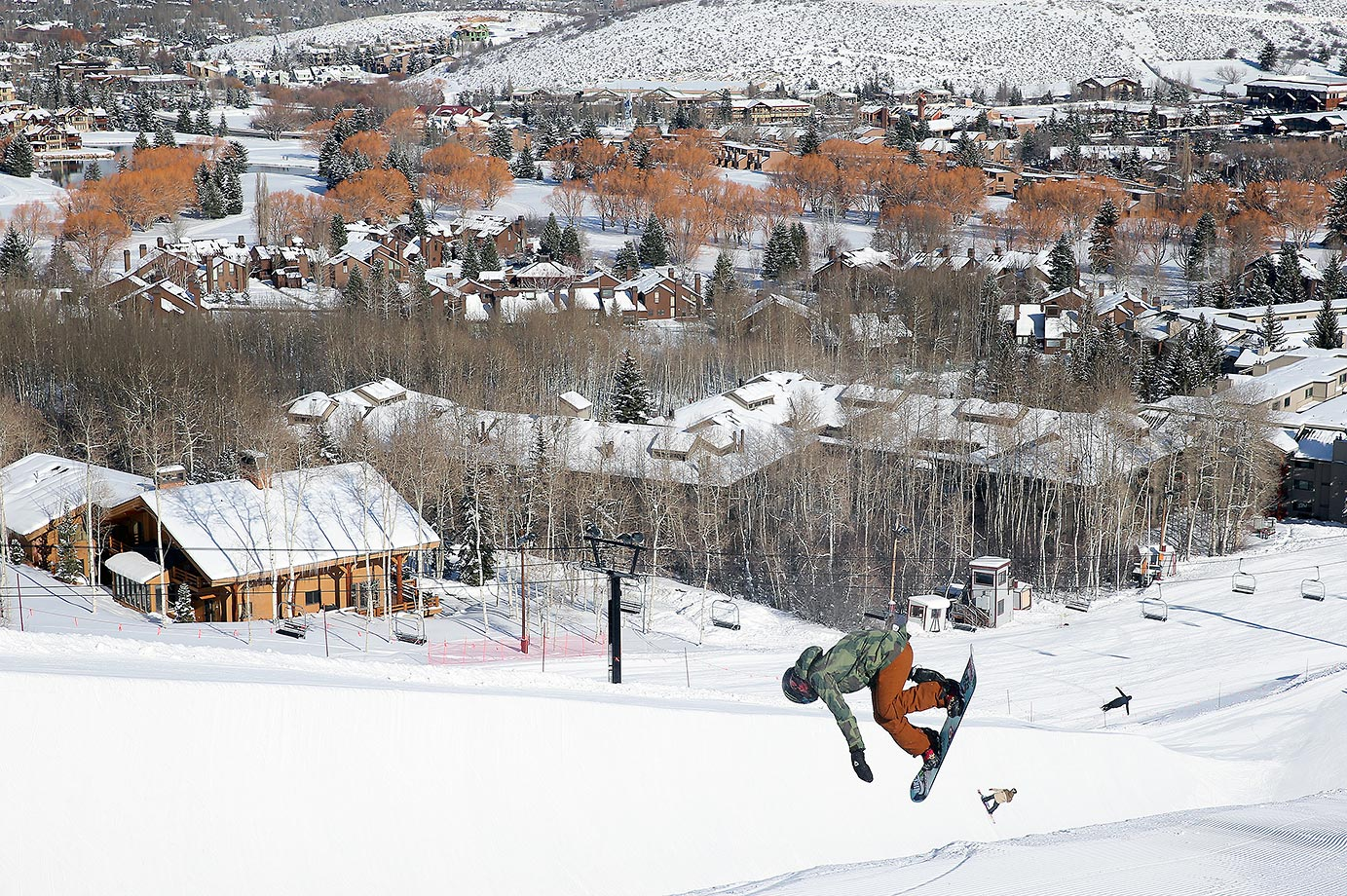 Chloe Kim drops into the half pipe at Park City Resort.