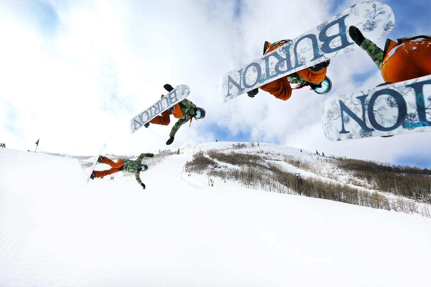 Teenage snowboarding phenom Chloe Kim of La Palma, Calif., gets some air during her practice training sessions on the halfpipe at the Park City Ski Resort in Utah.