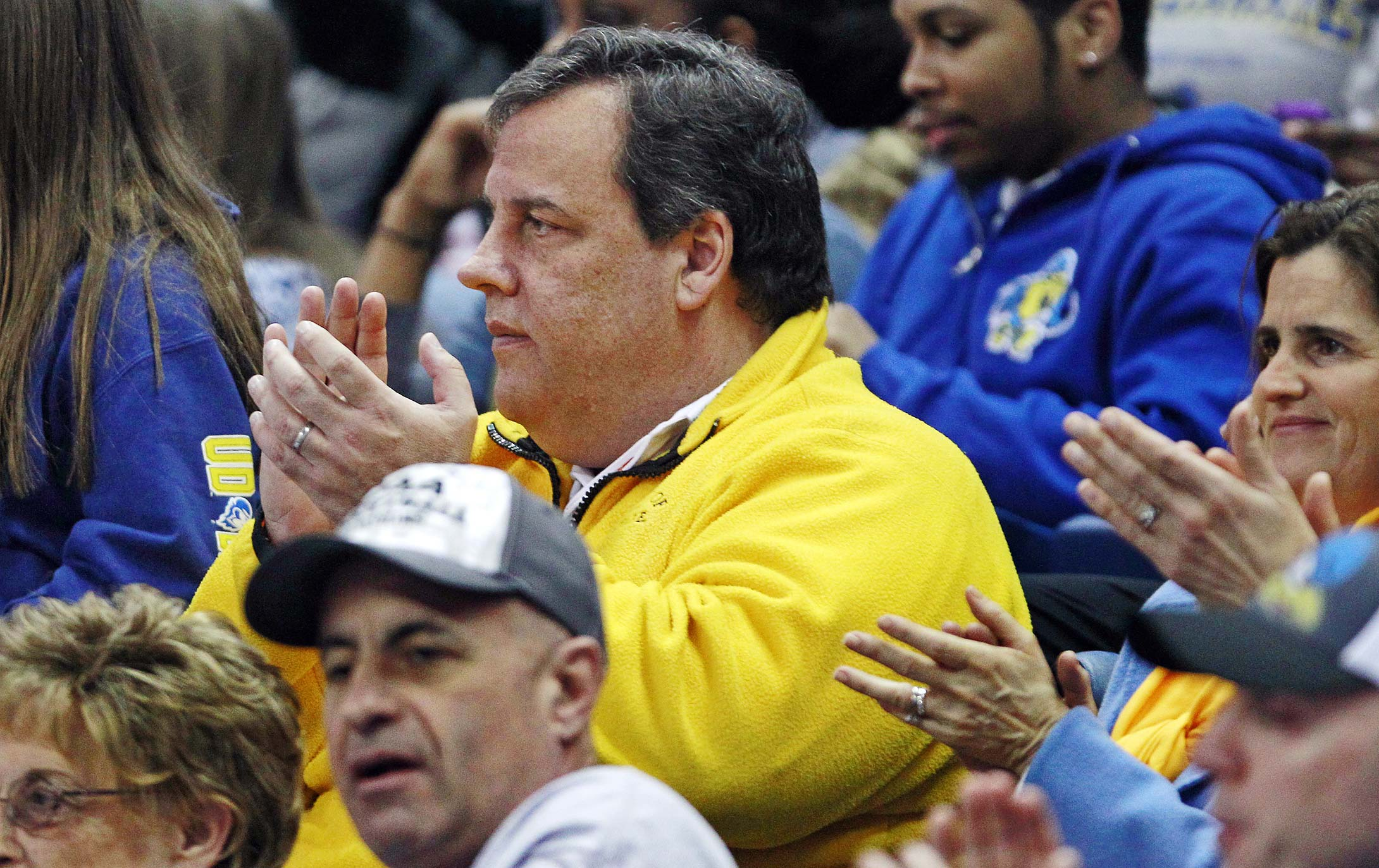 New Jersey Gov. Chris Christie at a 2013 regional semifinal between Delaware and Kentucky in Bridgeport, Conn.