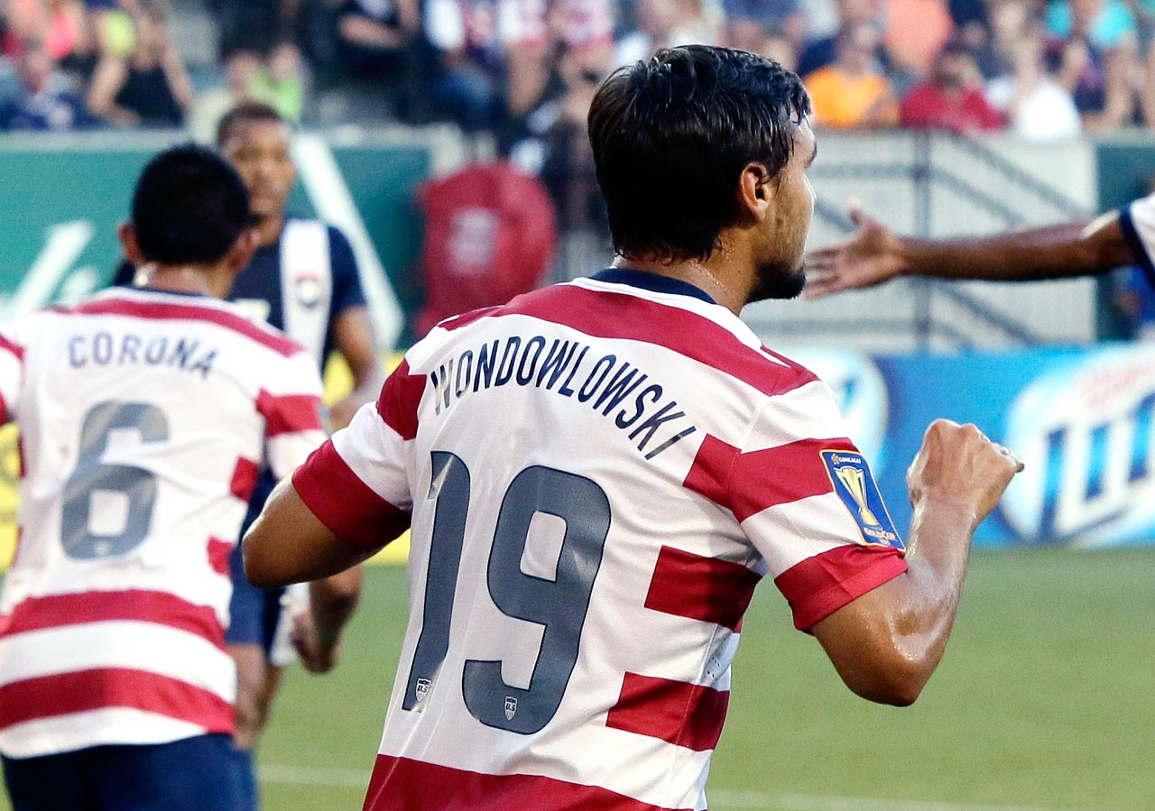 "Wondolowski stole the show in the U.S. men's soccer team's 6-1 victory over Belize, sporting an extra ""W"" - ""Wondowlowski"" - on his red and white jersey when he popped in his three goals to open the CONCACAF Gold Cup tournament Tuesday night, July 9, 2013."