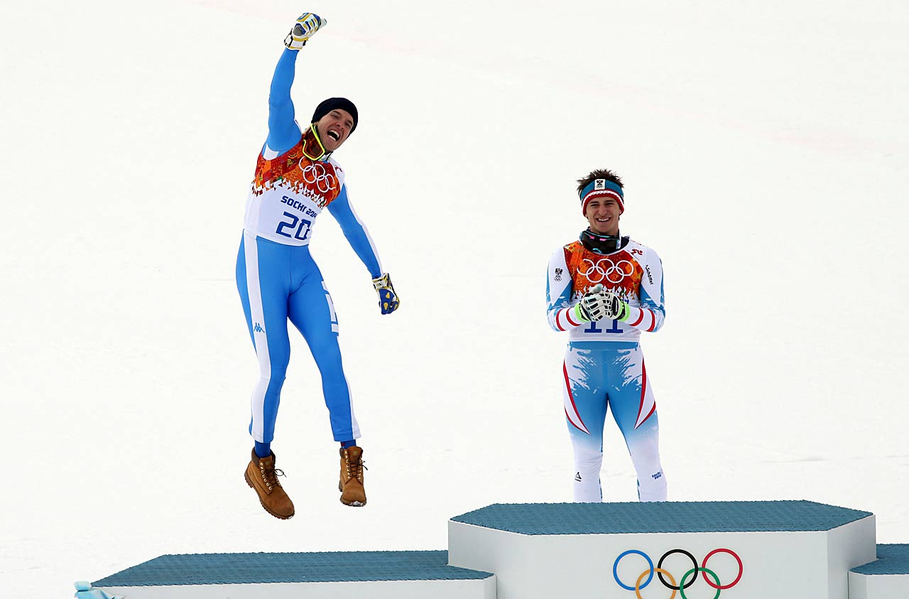 Christof Innerhofer of Italy shows his joy in having won the silver medal in the men's downhill.