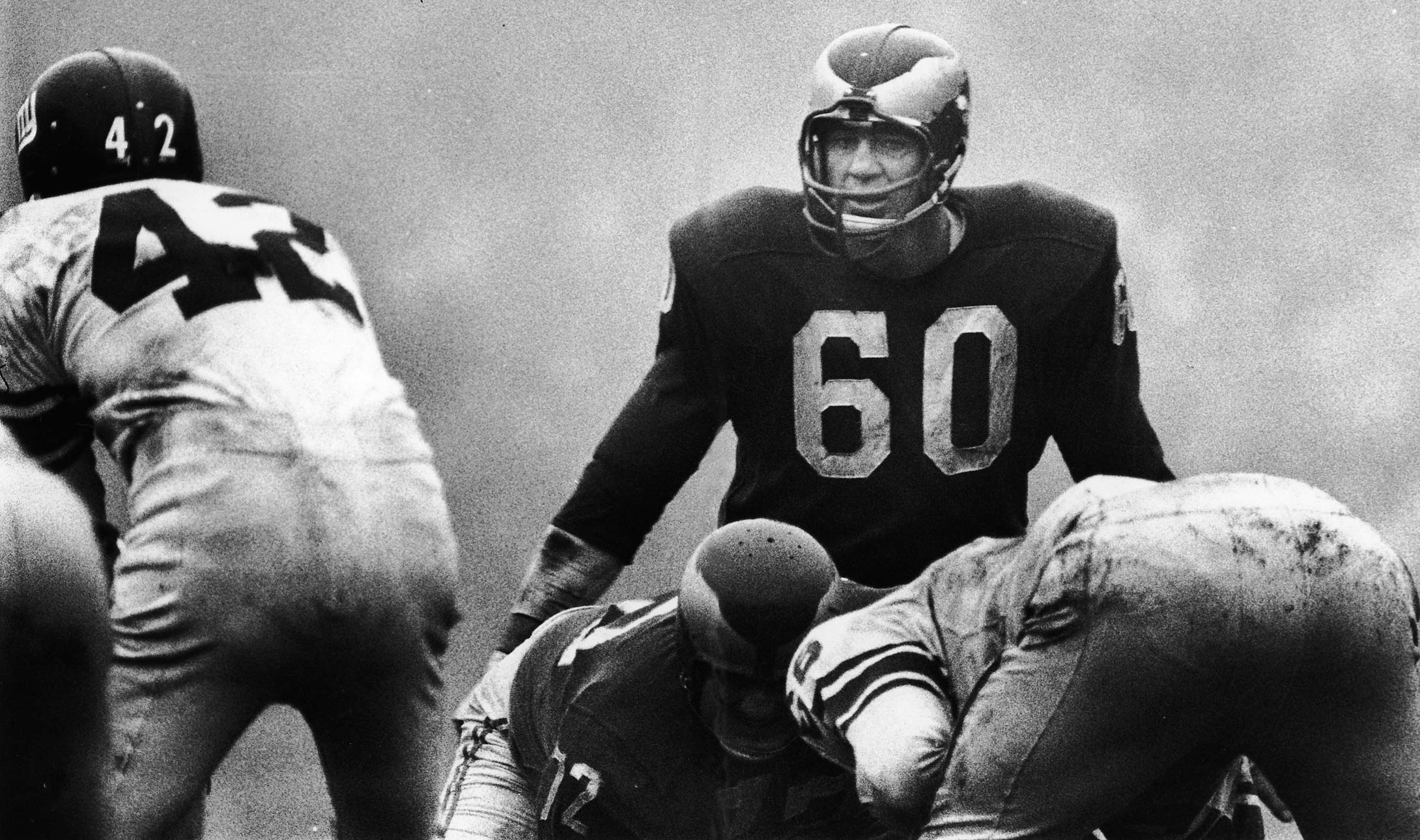 Chuck Bednarik eyes New York Giants QB Charlie Conerly as he awaits the snap.