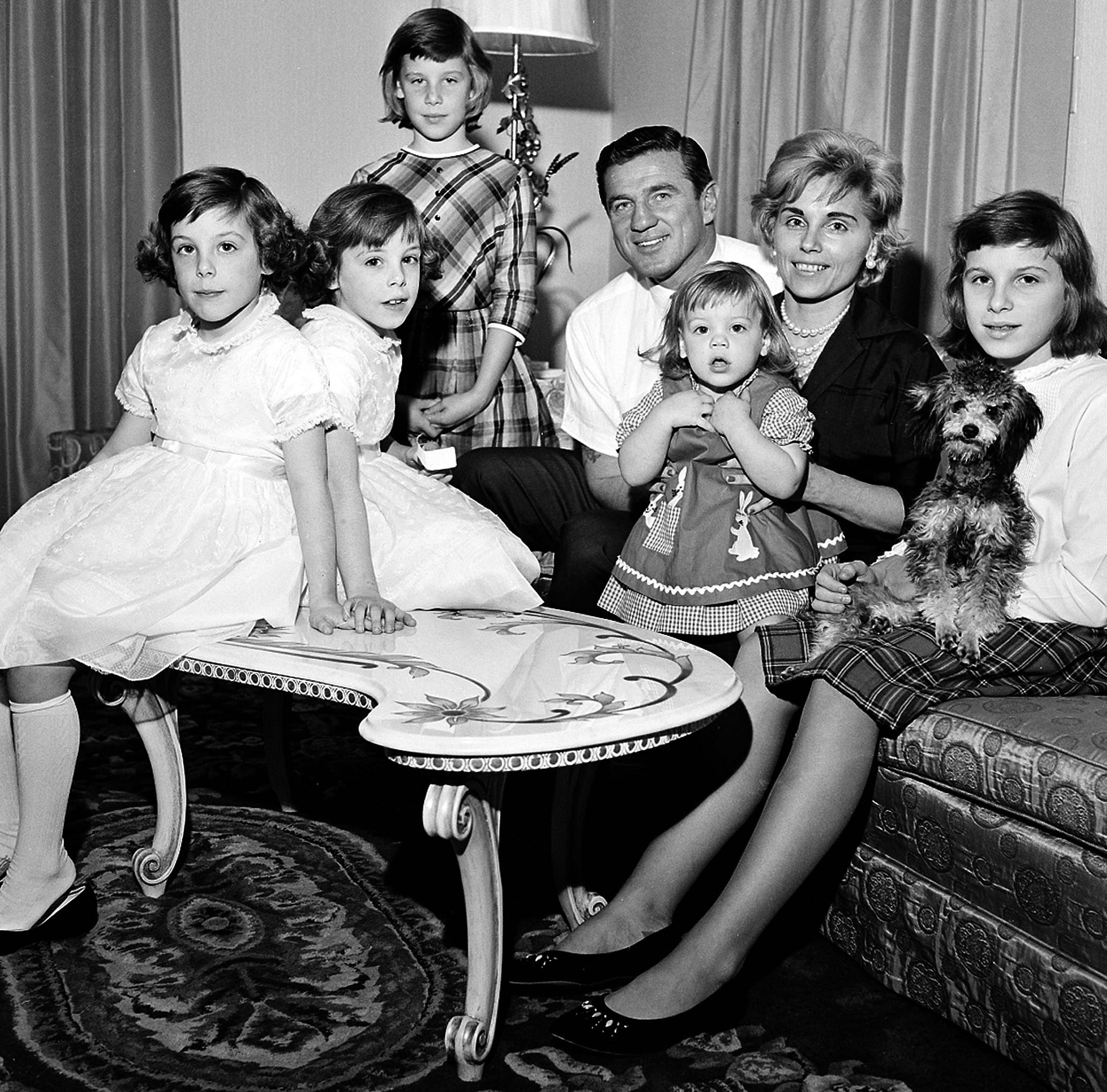 Bednarik is shown with with his family in their Abington, Pa., home in 1962. Left to right are; twins, Carol and Pamela, 7; Donna, 9; Jacquelyn, 20 months, Mrs. Bednarik and Charlene, 12.