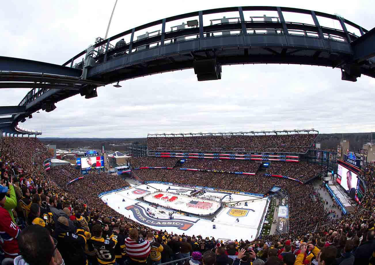 A crowd of 67,246 filled Gillette Stadium with a festive, communal atmosphere that included surprisingly civil pre-game tailgating between Bruins fans and their Canadiens counterparts who made travelled to Foxboro for the event.