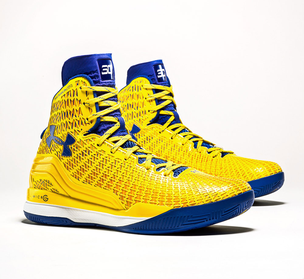 "Still without a signature shoe from Under Armour, Curry wears ""player exclusives"" with specially designed color combinations for him for in-season and special event games. While Kemba Walker and a few others don the ClutchFit, Curry is the lead athlete wearing the ultra-high top shoe deigned to wrap feet with a form-fitting ""second skin"" from foot to high above the ankle."