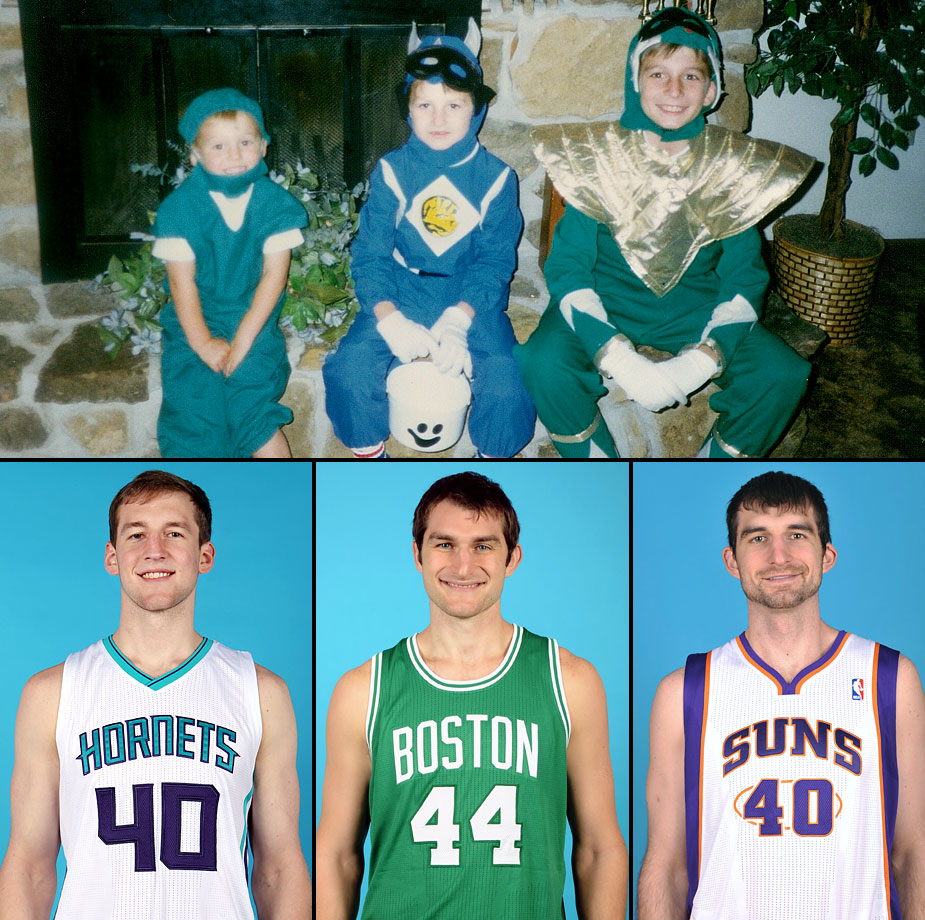 "Cody, Tyler and Luke Zeller (ages 3, 5 and 8) pose in Halloween costumes their grandmother made for them in 1995. Cody is dressed in an oversized ""doctor"" costume because Tyler had worn it a year earlier. Tyler and Luke are dressed as Power Rangers."