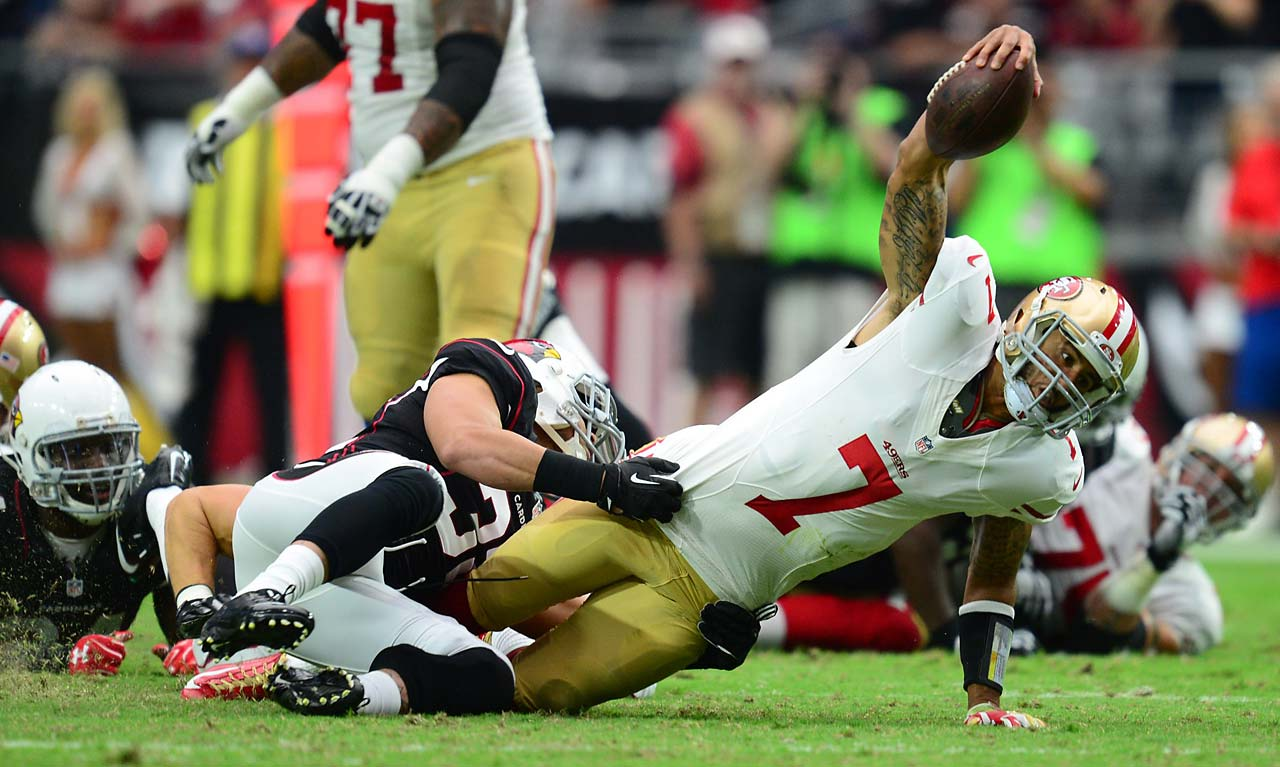 Colin Kaepernick completed 29 of 37 throws for 245 yards and a touchdown and ran for another 54, but the 49ers blew a first-half lead for the second week in a row.