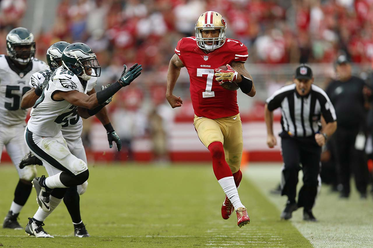 Colin Kaepernick ran for 58 yards against Philadelphia.