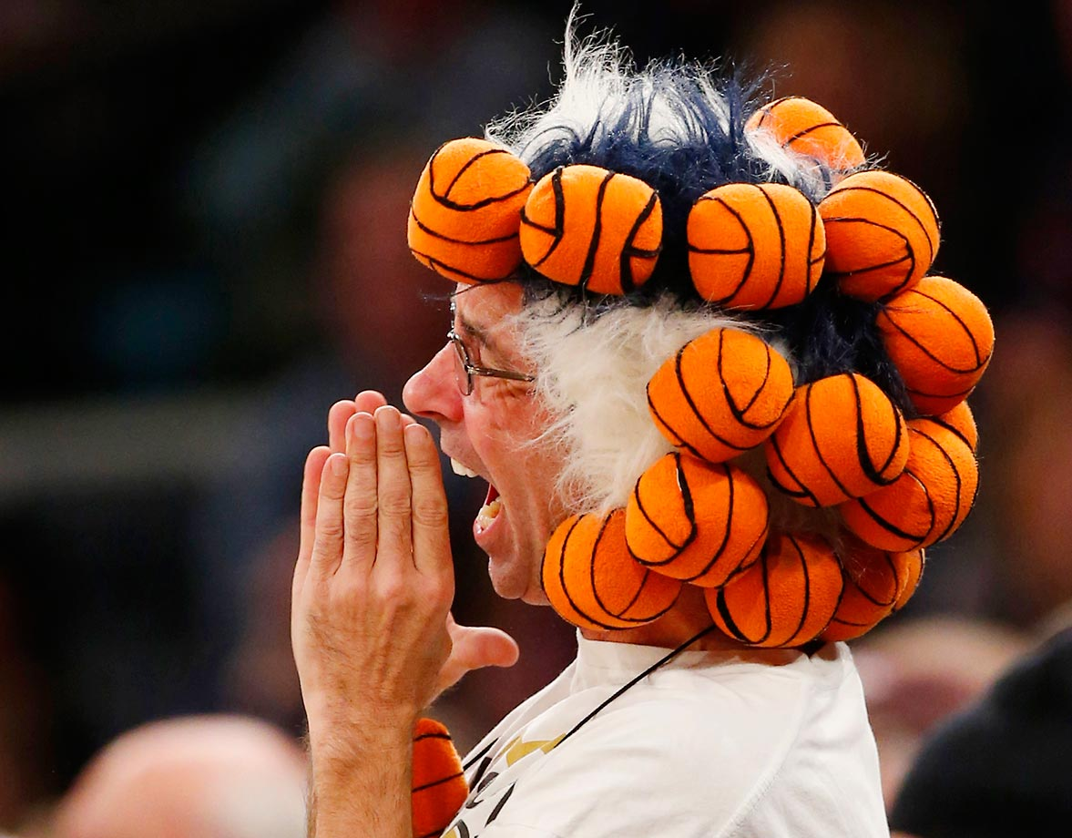 A Connecticut fan at a game against Maryland in New York City.