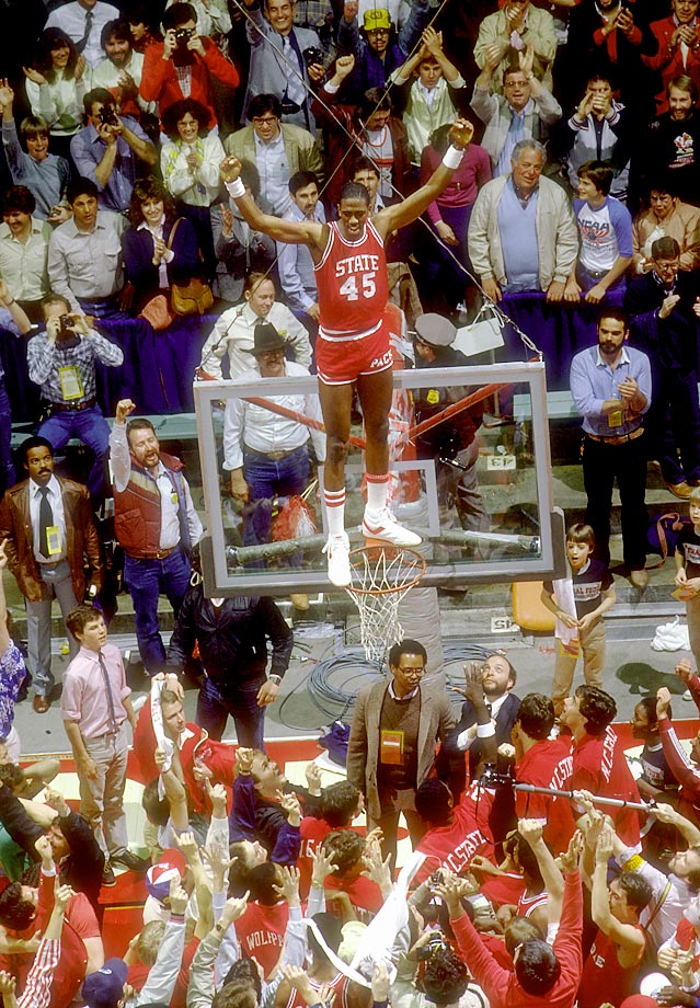 North Carolina State center Cozell McQueen  celebrates a 54-52 victory over Houston at the 1983 Final Four, held in Albuquerque, N.M.