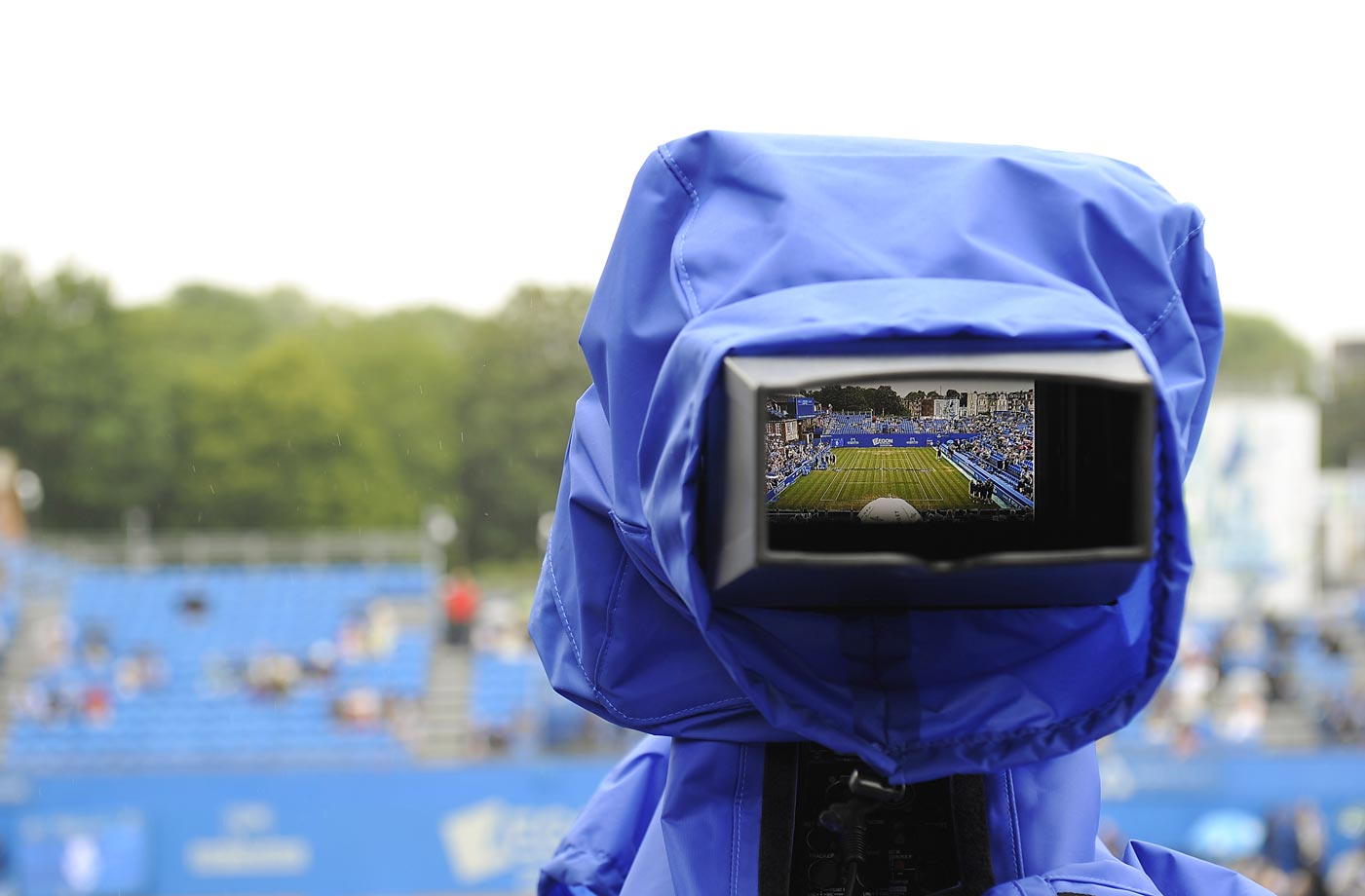 A camera during a rain delay at the AEGON Championships at Queen's Club in London.