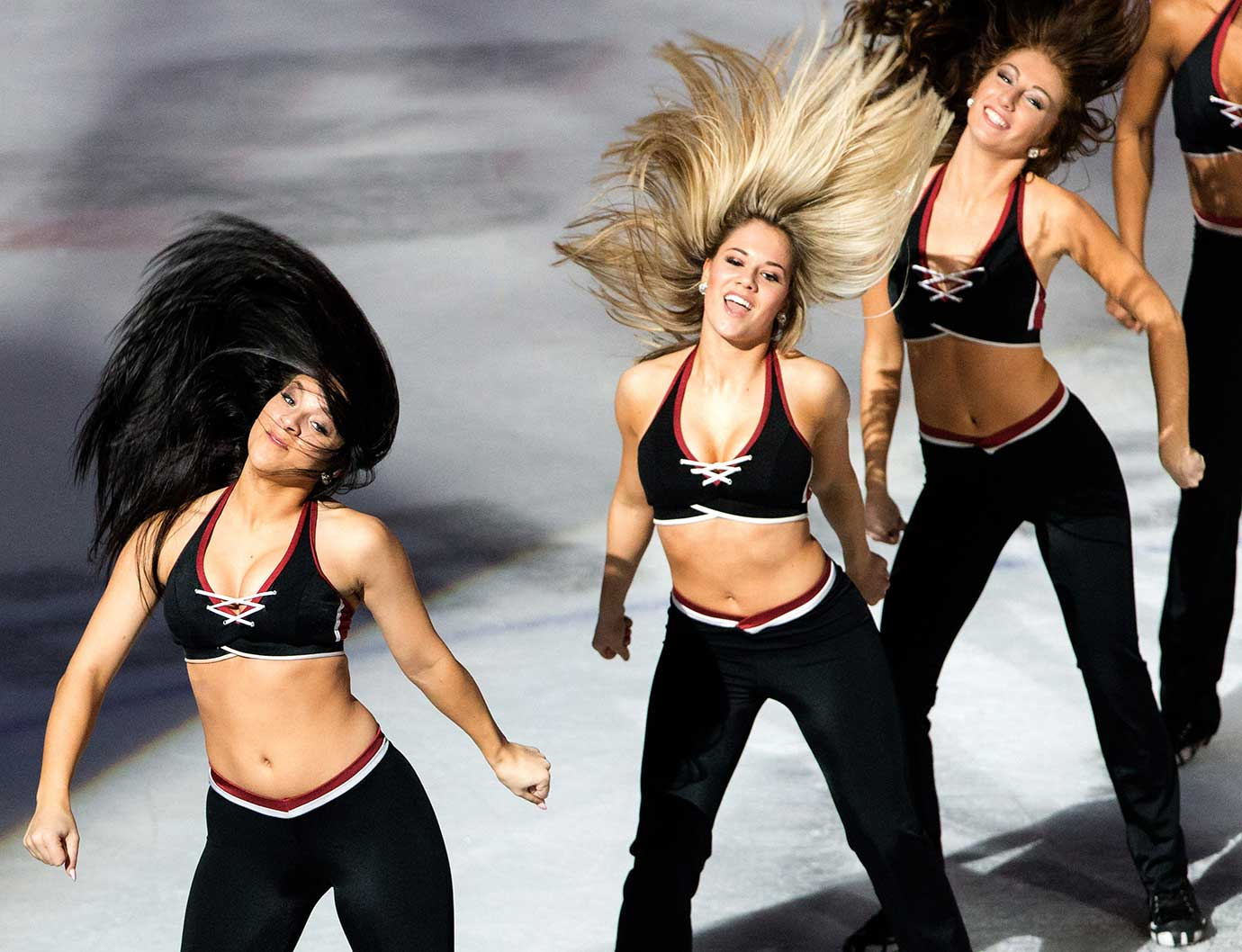 The Monsters Hockey Girls perform during an AHL game between the Rockford IceHogs and Lake Erie.