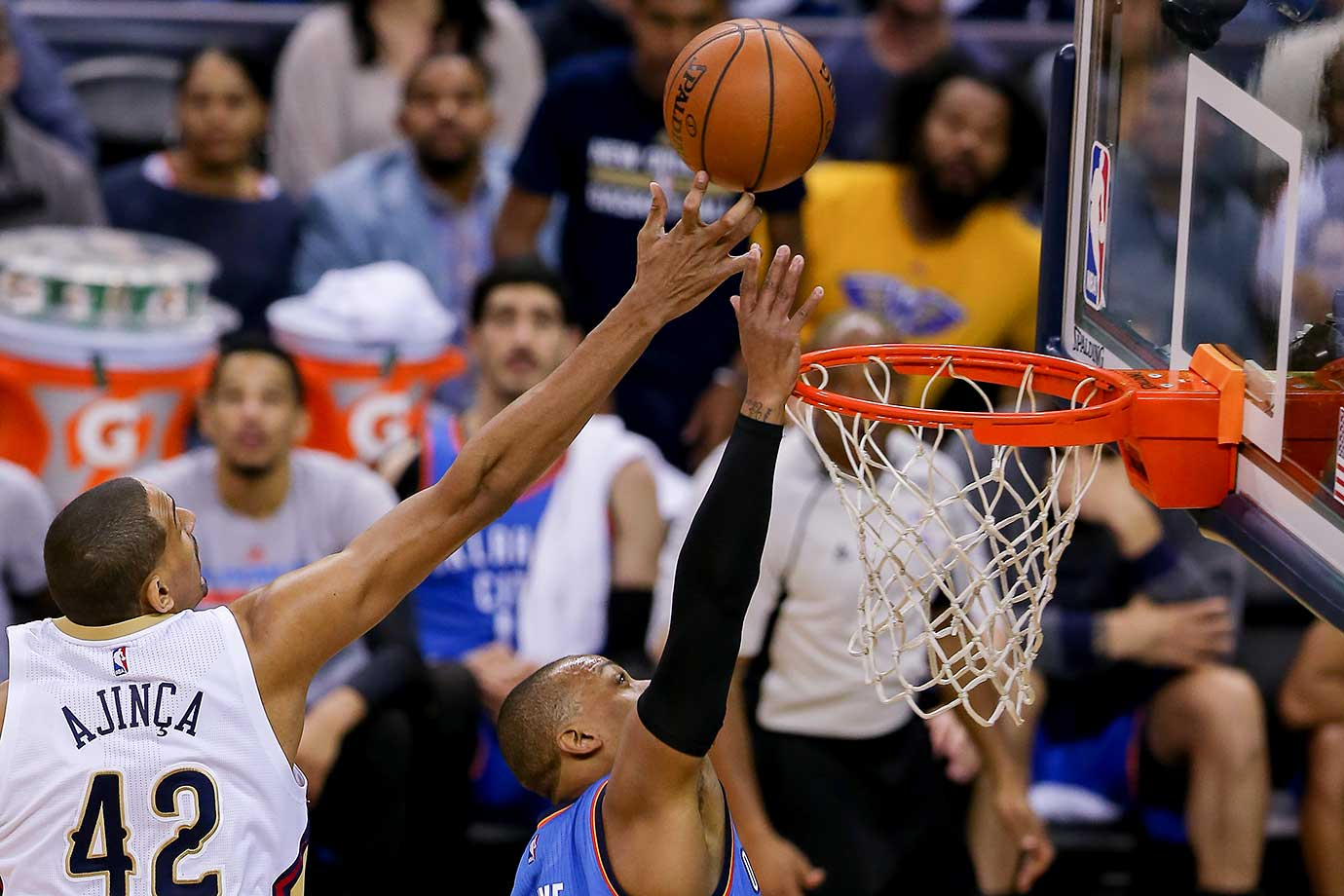 New Orleans center Alexis Ajinca blocks a shot during a game against the Oklahoma City Thunder.